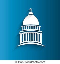 vector, capitolio, congreso, edificio, icono