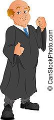 vector, carácter, caricatura, abogado