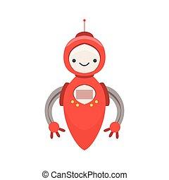 vector, carácter, robot, ilustración, amistoso, sin, androide, piernas, caricatura, rojo