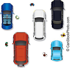 Set #2. Various Abstract Isolated Vector Cars, Top View Position