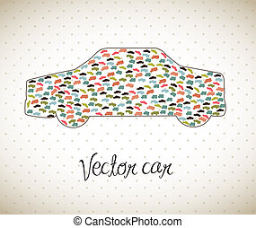 vector car - cute car with vintage style, tranport. vector...
