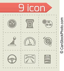 Vector Car dashboard icon set on grey background