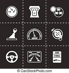 Vector Car dashboard icon set on black background