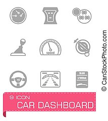 Vector Car dashboard icon set on grey background