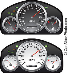 vector car dashboards with tachometer, speedometer and...