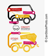 Vector car infographic, tag cloud