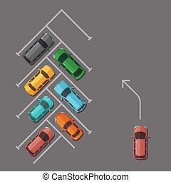 Vector car parking lot top view illustration - Vector car...