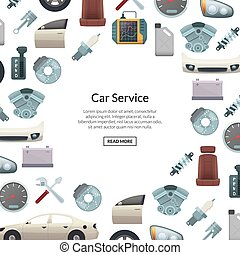 Vector car parts background illustration with text