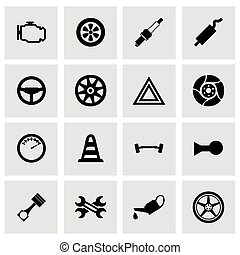Vector car parts icon set on grey background