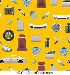 Vector car parts pattern or background illustration
