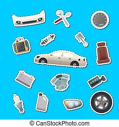 Vector car parts stickers of set illustration