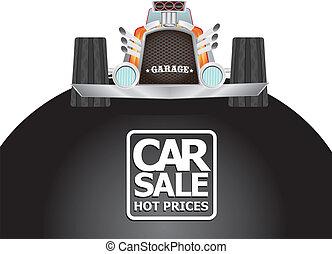 vector Car sale design template with retro car.