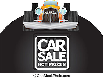 vector Car sale design template with retro car.
