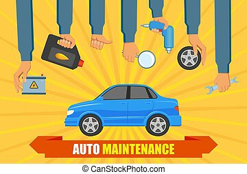 vector car service poster with hand holding tools