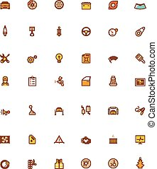 Vector car service related icons