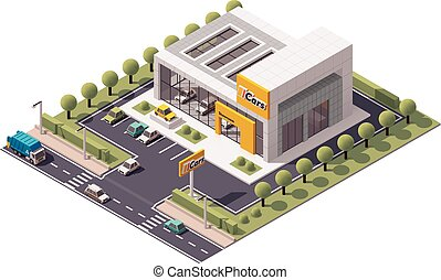 Vector Car Showroom - Vector isometric Car Store building...