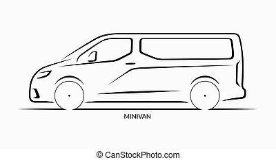 Vector car silhouette. Minivan side view - Vector car...