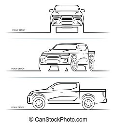 Vector car silhouettes. Front, side and perspective view of off-road suv pickup truck