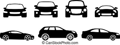 Vector car silhouettes. Sports car, SUV and ordinary car