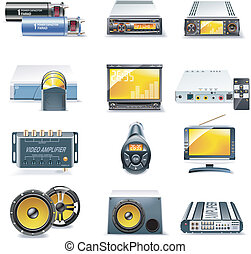 Set of car stereo and multimedia related icons