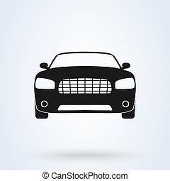 Vector car symbol front view icon automobile.