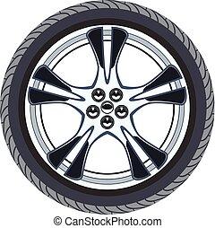vector car tire and alloy wheel