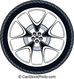 vector car tire and alloy wheel