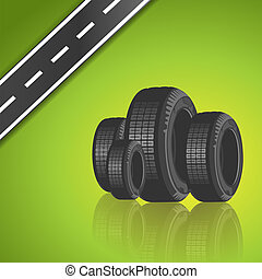 Vector car tire on green background