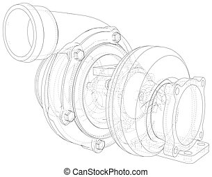 Vector car turbocharger isolated on background. Illustration created of 3d