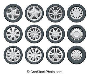 Car Wheels And Rims Auto Service Vector Car Service Auto Wheels