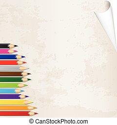 vector, carboncillos, en, papel, viejo