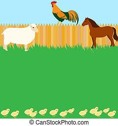 Vector card design with farm animals