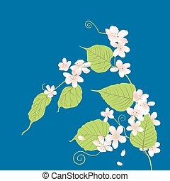 Vector card of decorative flowering twig of cherry tree