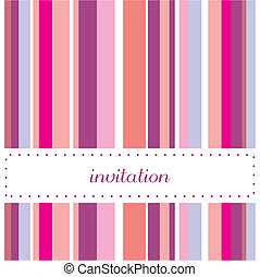 Vector card or invitation with vertical pink, violet, blue and white stripes. Background with white area to put your own text message. Happy, party colors for birthday, baby shower or wedding invitation