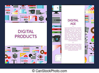 Vector card template for digital art design lessons or...