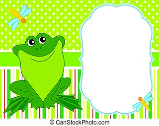 Vector Card Template with a Cute Cartoon Frog.