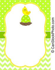 Vector Card Template with a Cute Chick on Polka Dot and Chevron Background. Easter Card Template.