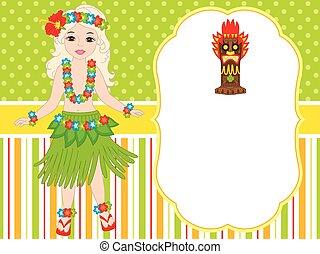 vector cute little girl in traditional hawaiian costume dancing hula