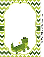 Vector Card Template with Cute Crocodile on Chevron Background.  Vector Crocodile.