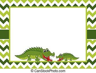 Vector Card Template with Cute Crocodiles on Chevron Background.  Vector Crocodile.