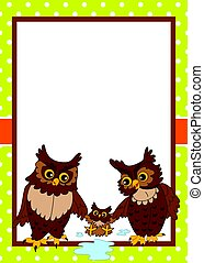 Vector Card Template with Cute Owls. Vector owls.