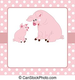 Vector Card Template with Cute Pigs on Polka Dot Background