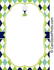 Vector Card Template with Golf Ball on Tee. Argyle Background. Golf Vector Illustration.