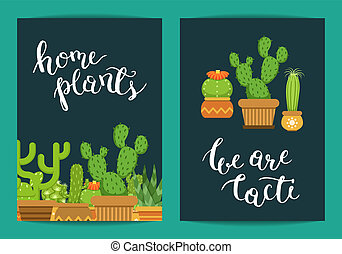 Vector card template with lettering Home Plants and cacti in pots