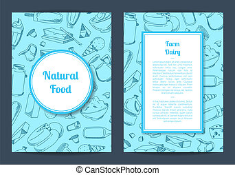 Vector card template with place for text and contoured hand drawn milk products