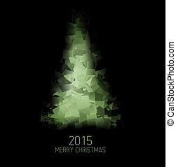 Vector card with abstract green christmas tree