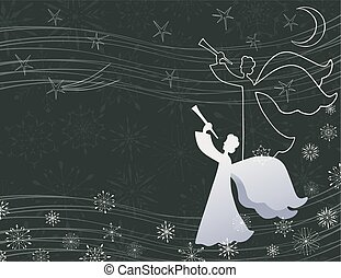 Vector card with angel playing a trumpet in christmas eve