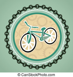 card with bicycle - vector card with bicycle and round frame