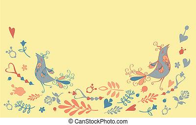 vector card with birds x
