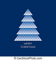 Vector card with blue mosaic christmas tree